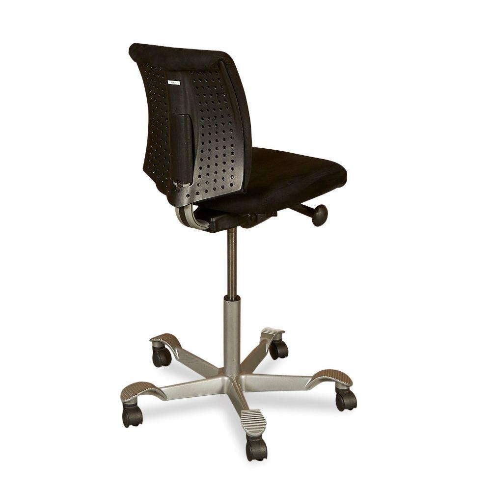 Ubrugte HÅG H05 kontorstol. Sort stof, plastic ryg. BV-09