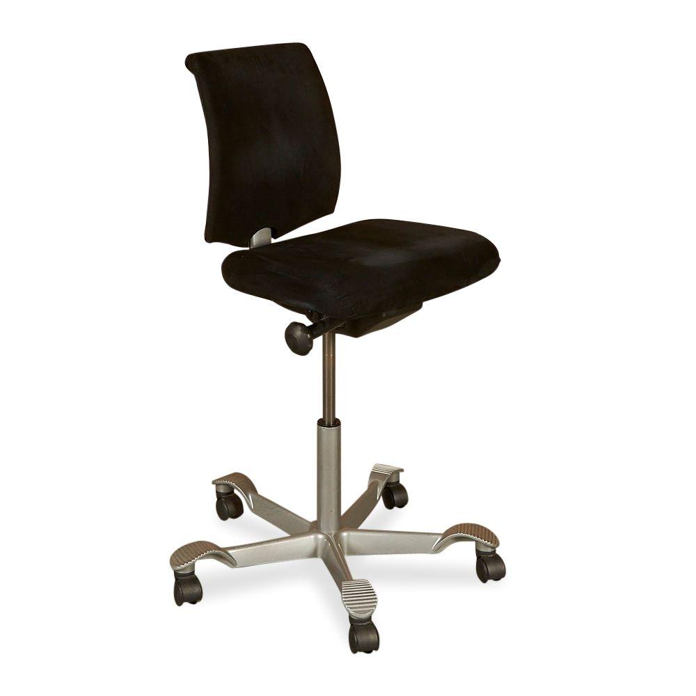 Sidste nye HÅG H05 kontorstol. Sort stof, plastic ryg. QO-15